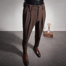 2020 Новый Бизнес Брюки модные складки Повседневное Slim Fit для свадьбы; Обувь для офиса; Социальный костюм камуфляжные брюки мужские брюки мужс...(China)