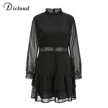 DICLOUD אלגנטי חלול החוצה שחור שמלת נשים דוט ארוך שרוול סתיו אביב קו מיני המפלגה שמלה סקסי אופנה בגדים 2020(China)