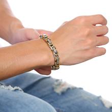 אופנה חדשה Mens נירוסטה ביזנטי קישור שרשרת צמיד בציר ב זהב שחור כסף זכר צמיד Pulseira פאנק תכשיטים(China)