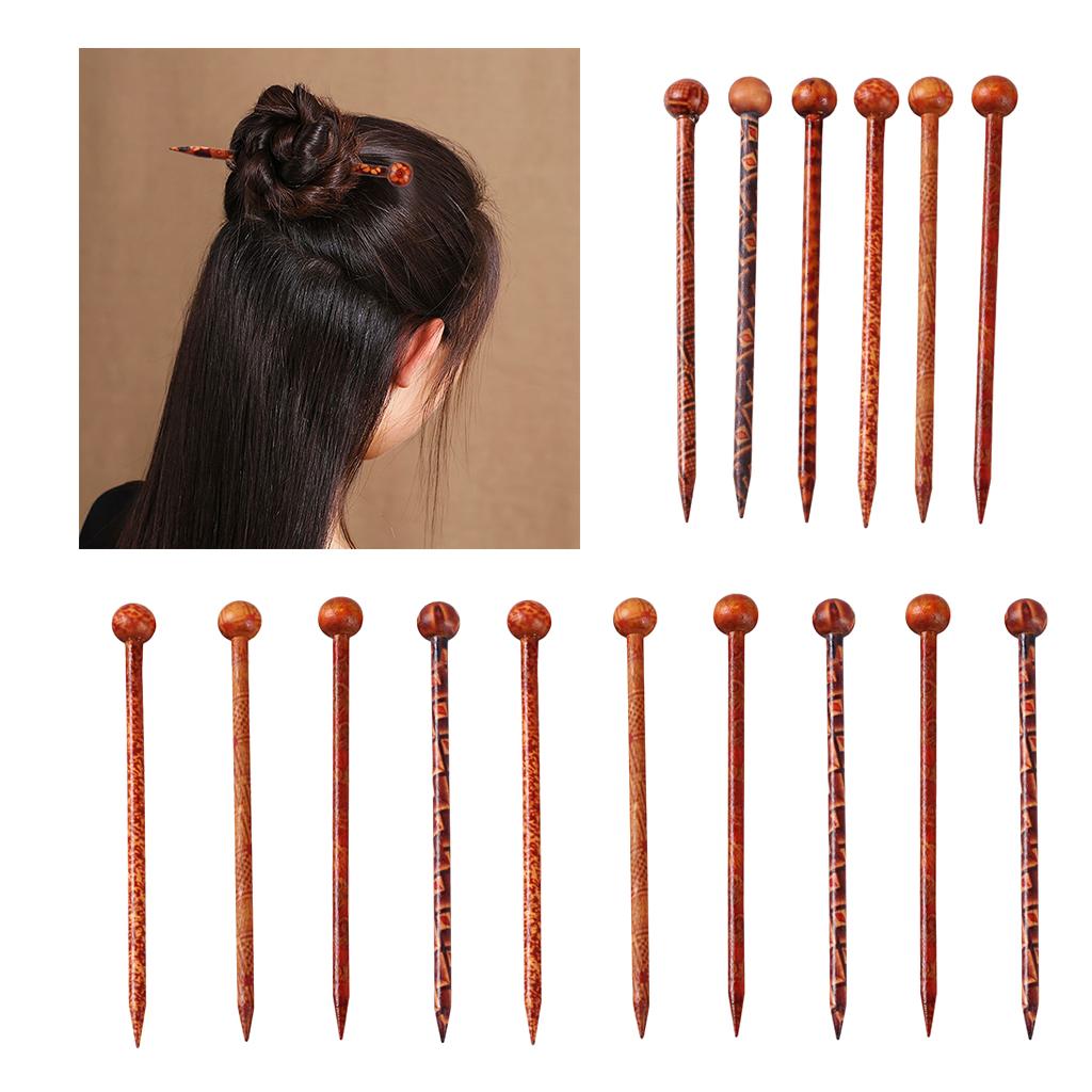 16 Pieces Wood Hair Sticks Japanese Hair Chopsticks for Buns Hair Pins for Women Long Hair Chignon Maker Handmade Craft 13cm