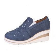 Frauen Stiefeletten Keile Vulkanisierte Plattform Herbst Weibliche Hohe Ferse Höhe Zunehmende Schuhe Damen Mode Lässig Plus Größe(China)