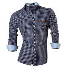 Camisas de vestir casuales para hombres de Jean moda elegante manga larga ajustada 8615 Navy2(China)