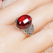 Vintage Thai silver Natural Red Garnet Classic Big Gemstone Ring For Women 100% 925 Sterling Silver Green Jade Wedding Rings(China)