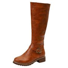 Paha Tinggi Boots Brown Wanita Vintage Kulit Square Tumit Ritsleting Lutut Tinggi Gesper Boot Tetap Hangat Bulat Toe Sepatu Inggris gaya(China)