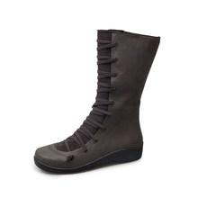 Hot New Nữ Mắt Cá Chân Giày Nữ Dây Kéo Thời Trang PU Giày Nữ Phối Ren Mềm Mại Dưới Người Phụ Nữ Phẳng Thoải Mái Nữ giày Plus Kích Thước(China)