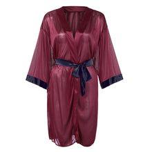 נשים סקסי השחור פו משי סאטן קימונו חלוק תחרה חלוק הלבשה תחתונה פיג 'מה חלוקי נשים בית חלוק רחצה Badjas #20(China)