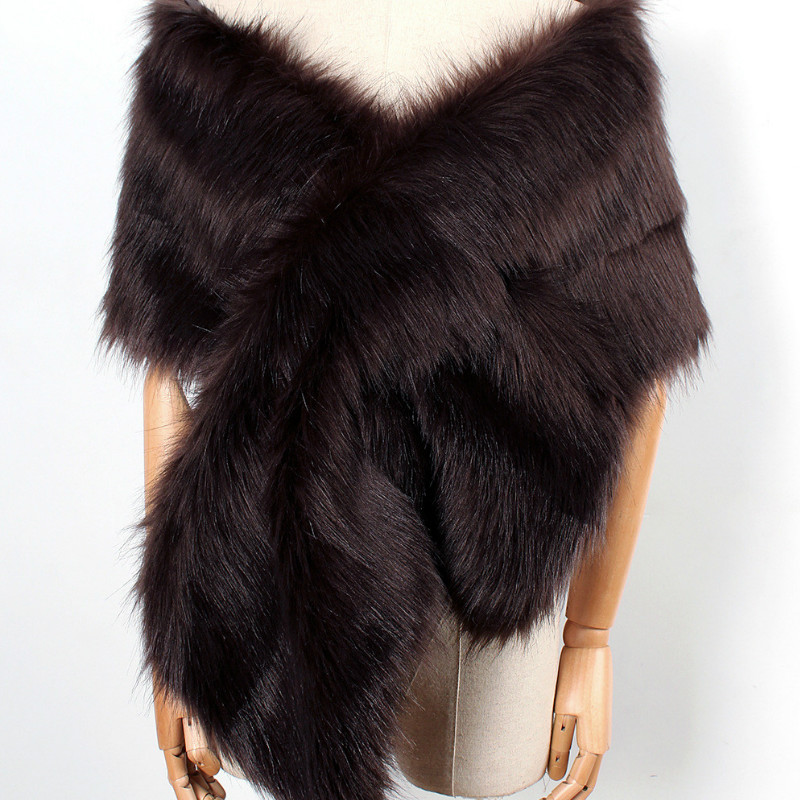 The autumn and winter new imitation fur big cape neck scarf multi-color joker scarf bride dress cross cape (12)