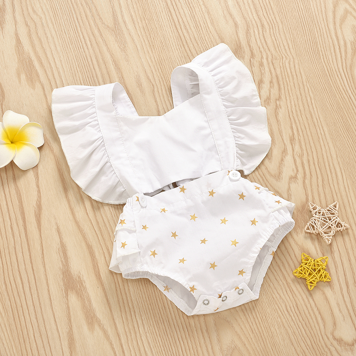 Infant Baby Girls Floral Patchwork Romper Back Cross Jumpsuit Playsuit Clothes Outfits 0-24M