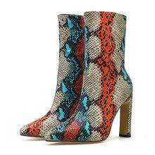 2020 lüks kadın 11.5cm yüksek topuklu fetiş çizmeler bayan yarım çizmeler blok yılan cilt baskı balo sonbahar balo artı boyutu patik ayakkabı(China)
