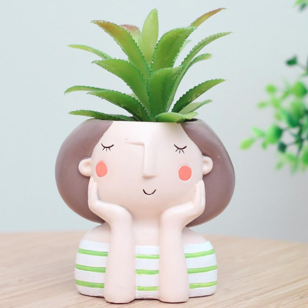 4pcs/set Girl & Boy Design Mini Flower Pots Cacti Succulent Plant Container Flowerpot Garden Planter Window Box Home DIY Decor