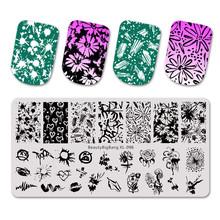 Beautybigbang Nail Stempelen Platen Natuurlijke Bloem Bee Zwaan Thema Afbeelding Top Template Mold Nail Art Stencil XL-097(China)