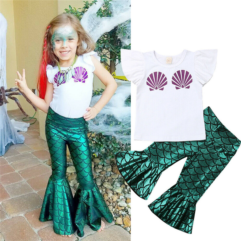 Toddler Baby Girls Mermaid Outfit Shell Print T Shirt Bell Bottom Pants Sets
