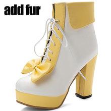 Phụ Nữ Của Nền Tảng Mắt Cá Chân Giày Đáng Yêu Ngọt Ngào Nơ Cổ Chân Giày Nữ Giày Nữ Dây Giày Nền Tảng Lolita Giày Người Phụ Nữ Size Lớn 48(China)