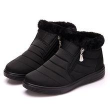 ฤดูหนาวรองเท้าผู้หญิงข้อเท้ารองเท้าผู้หญิงกันน้ำ Bottine Femme ผ้าฝ้าย Plush รองเท้าซิปสีดำ Botas Mujer 2020(China)