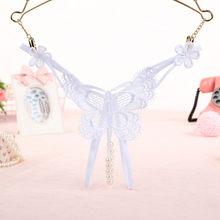 Sous-vêtements pour fille Sexy en dentelle   Culotte en coton avec chaîne en perles, culotte tanga, taille basse, culotte transparente, motif papillon, livraison gratuite, 2020(China)