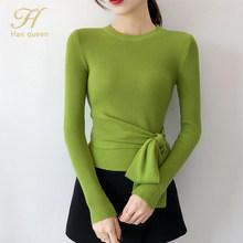 H Han Queen Rajutan Sweater Wanita Fashion 2019 Musim Gugur Atasan Wanita O-Leher Renda-Up Pullover Lengan Panjang Tarik femme Pakaian(China)
