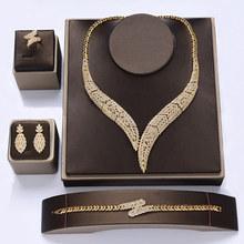 Schmuck HADIYANA Klassische Halskette Ohrringe Ring Armband Schmuck-Sets Für Frauen Elegante Hochzeit Party Geschenk CNY0060 Bisuteria(China)