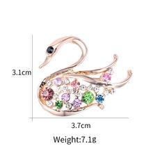 Baiduqiandu Merek Baru Warna Rose Emas Plated Kristal Angsa Angsa Hewan Bros Pin untuk Wanita Fashion Perhiasan(China)