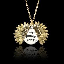 คู่ด้านสองด้านคุณภาพสูง Custom คุณเป็นแสงแดดของฉันเปิด Locket สร้อยคอจี้ Sunflower สำหรับผู้หญิง Dropshipping(China)