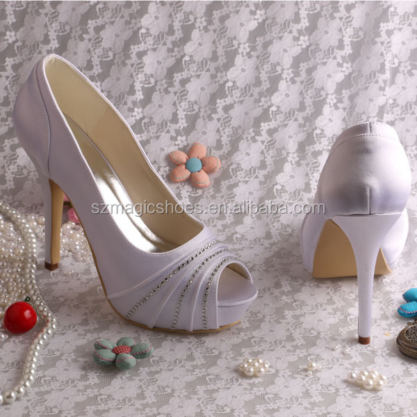 Wedopus Wedding shoes Black And White Satin Shoes Open Toe High Heels With Crystal Dropship