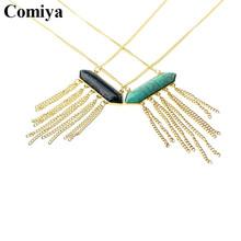 Comiya fashion gold color link chain geometric stones tassel pendant necklaces perfumes relogio feminino authentic retro jordans(China (Mainland))