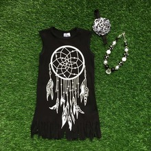 2016 girls summer dress kids dress dream catcher dress black dress sleeveless with necklace and headband(China (Mainland))