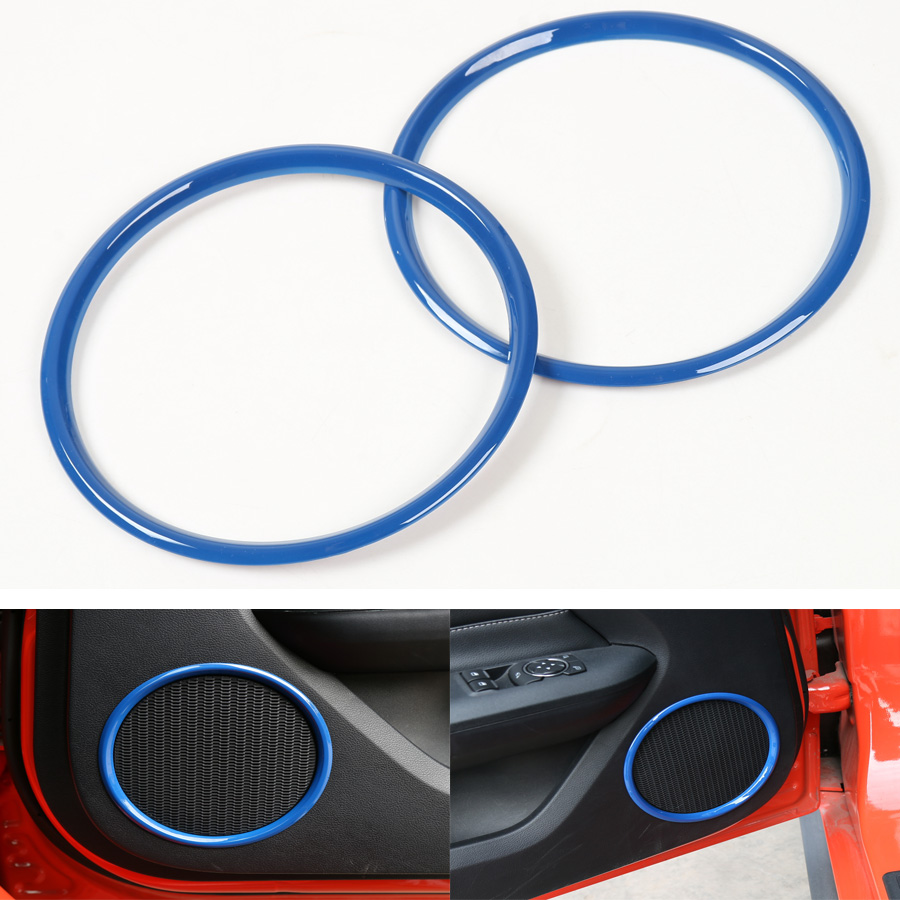 2Pcs/set Auto Car Door Stereo Sound Speaker Ring Circle Trim Styling Fit For Ford Mustang 2015 2016 ABS Chrome Blue or Red(China (Mainland))