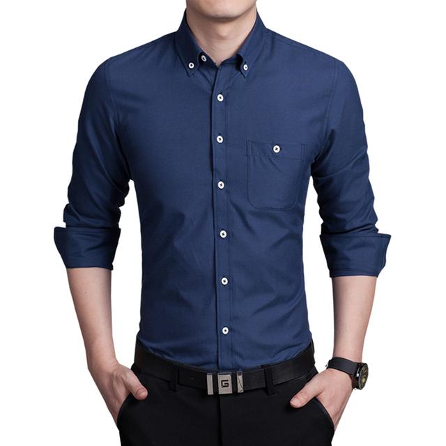 Высокое качество с длинным рукавом мужская рубашка тонкий фитнес твердые хлопок мужские ...