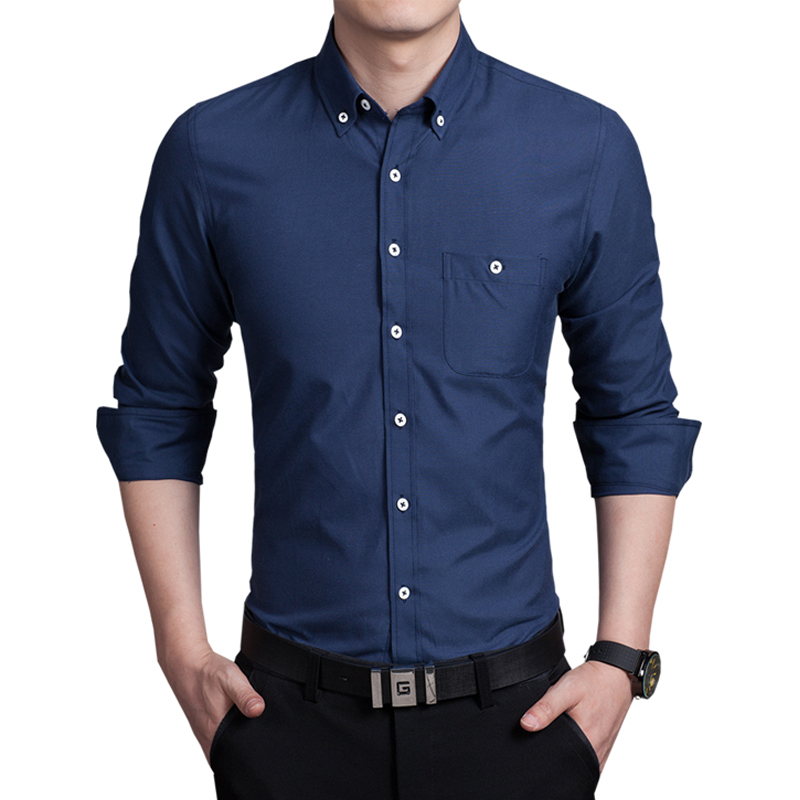 top quality long sleeve men 39 s shirt slim fitness solid
