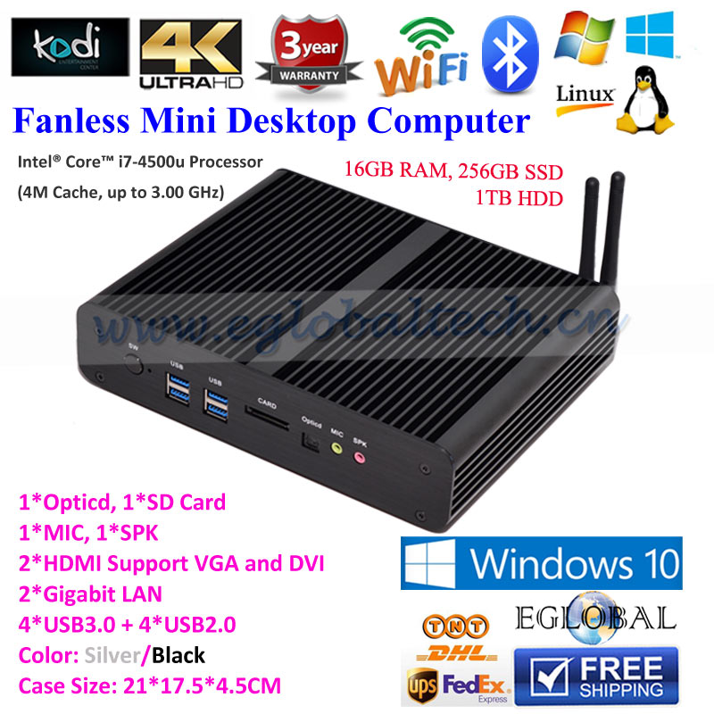 Windows Mini pc i7 Desktop Computer Intel Nuc Fanless Computer haswell Core i7 4500U 16G RAM 256G SSD 1TB Wifi Win10 minipc(China (Mainland))