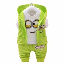 Newest 2016 Autumn Baby Girls Boys Minion Suits Infant/Newborn Clothes Sets Kids Vest+T Shirt+Pants 3 Pcs Sets Children Suits