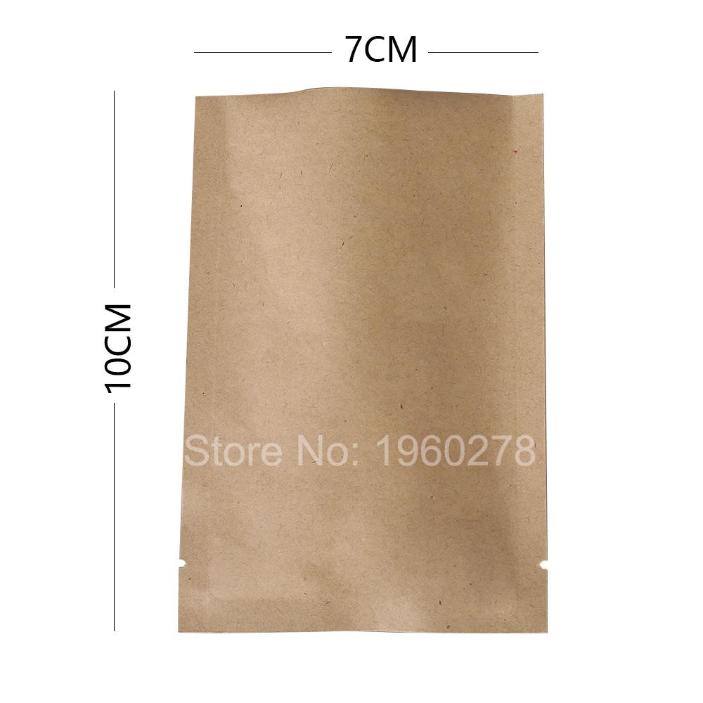 "7x10cm (2.7x3.9"") 100pcs Thick Tear notch flat pouch paper bags aluminum foil myalr brown kraft paper open top packaging bag(China (Mainland))"