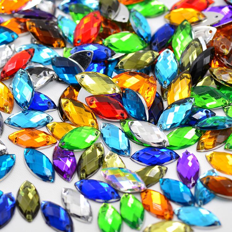 9*20mm Mix Color Rhinestones Flat Back Sew On Acrylic Horse Eye Gems Fancy Shape Strass Crystal Stones For Jewelry Dress Craft(China (Mainland))