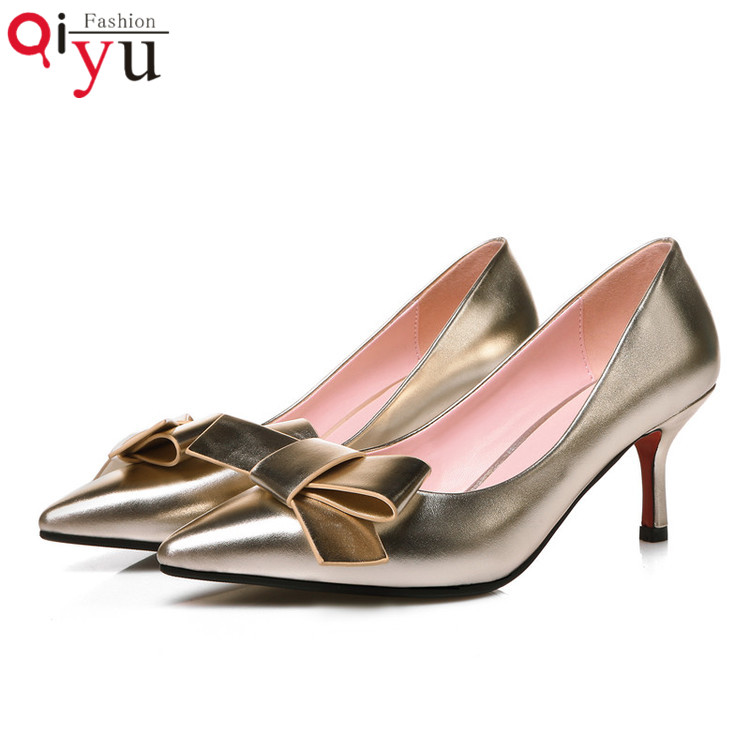 2016 Fashion Sexy Red Bottom Thin High Heels Wedding Shoes Pointed Toe Women Pumps Bowtie Pu Leather Ladies Shoes Size 34-39<br><br>Aliexpress