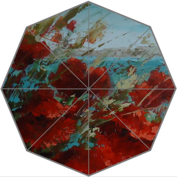 Обычай картина красный цветок мода складной зонтик