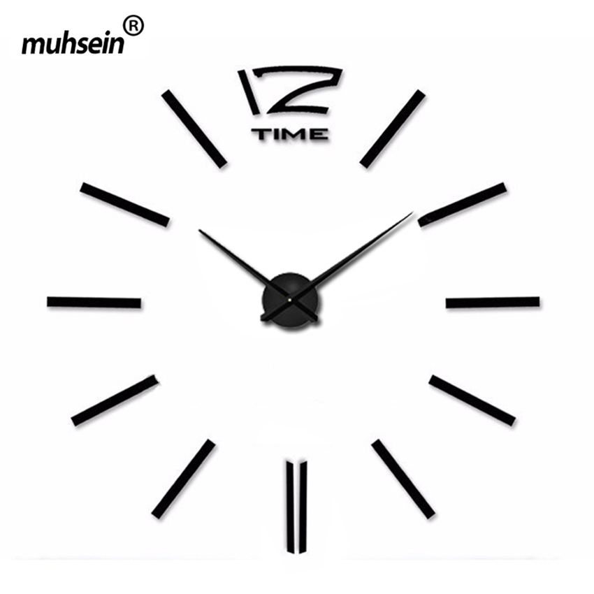 Freeshipping Home Decoration 2016 New Wall Clock Creative Modern Sticker Unique black Big DIY 3D Digital Mirror Art Wall Clocks(China (Mainland))