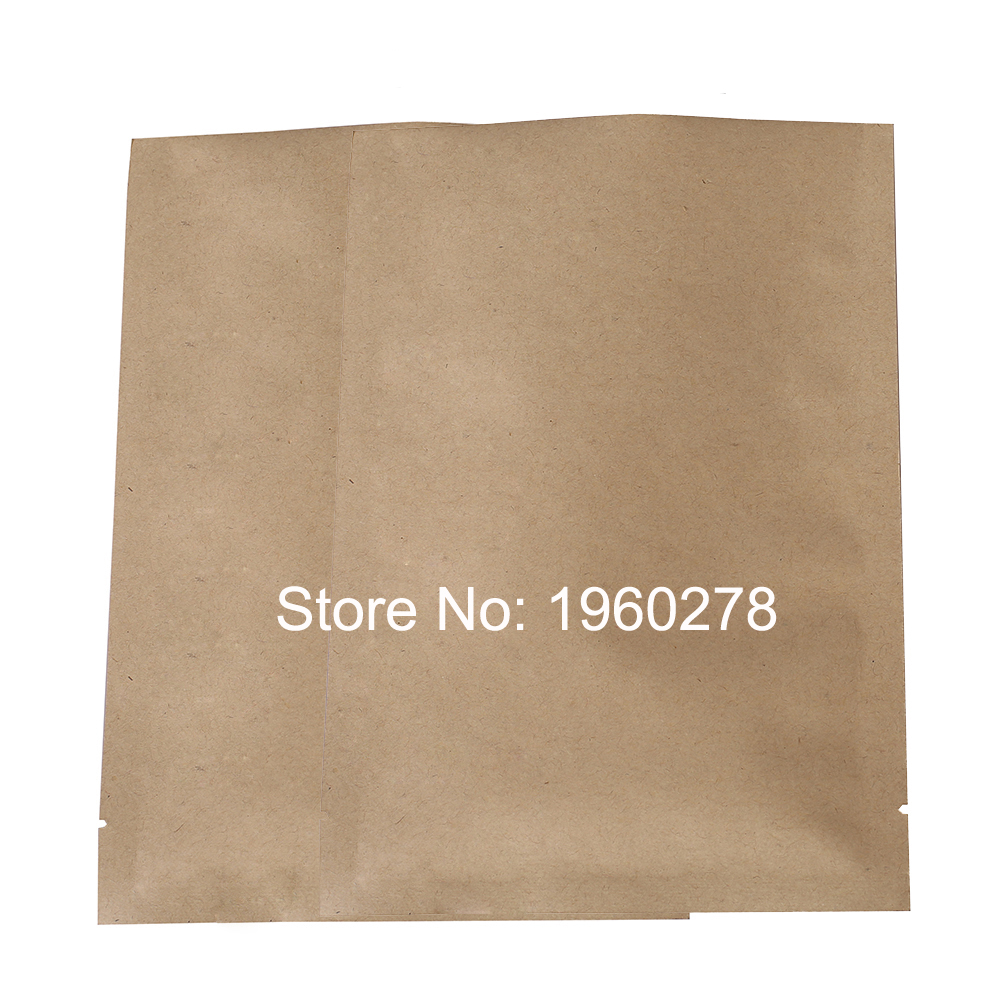 "10x15cm (3.9x5.9"") 5.5 MIL flat bottom brown kraft look pouches open top resealable kraft paper food packaging bag 100pcs/lot(China (Mainland))"
