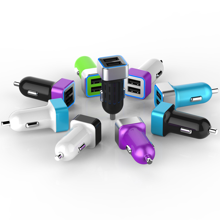 5V 2.4A/3.1A/4.8A Colorful Portable Dual USB Port Car Charger for iPhone iPad Charger Adapter cargador coche oto usb charger(China (Mainland))