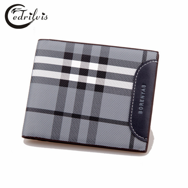 Classical font b Chequer b font Ultra thin Men Wallet W131 Pu Short Male Purse Cardholder