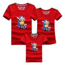 Family Clothes Minions Captain America T Shirts Family Look Cotton Cartoon Clothing Short Sleeve Tops Family Matching Outfits