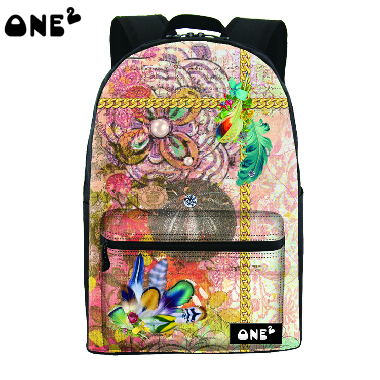 2016 ONE2 Design pretty butterfly pictures printing polyester and nylon school bag and backpack for college student(China (Mainland))