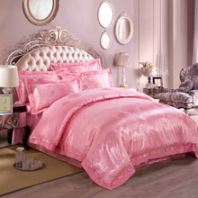 4pcs jacquard mulberry silk bedding set satin bed linen/bedclothes queen king size including duvet cover bed sheet pillowcases(China (Mainland))