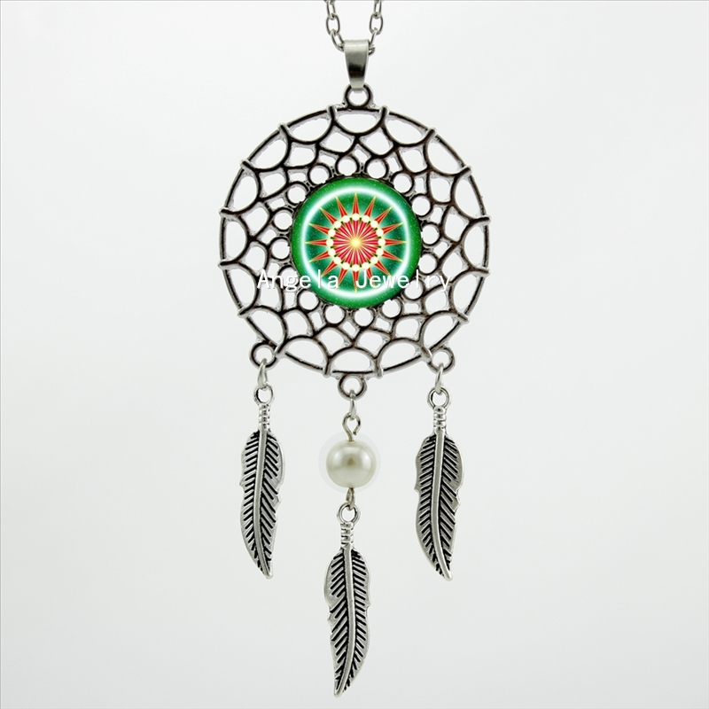 2016 Trendy Style Dreamcatcher Pendant Green Om Necklace Red Compass Jewelry Dream Catcher Feather Necklace DC-0038(China (Mainland))