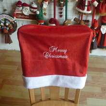 Buy 1pcs New Red Embroidered Merry Christmas Words Chair Cover Top Plush Christmas Chair Back Cover Xmas Festival Decorative for $3.49 in AliExpress store