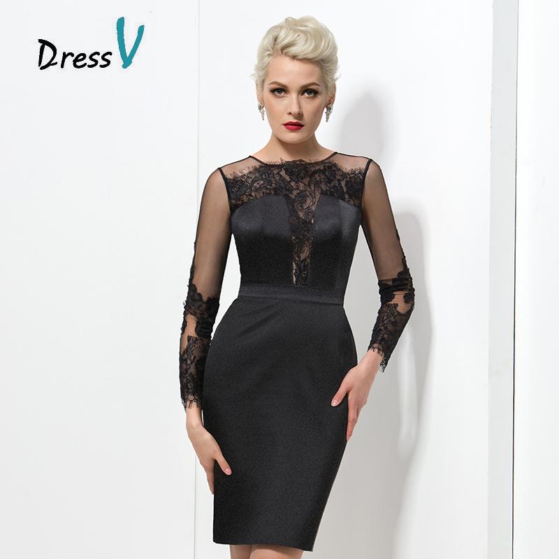 Коктейльное черное платье из кружева