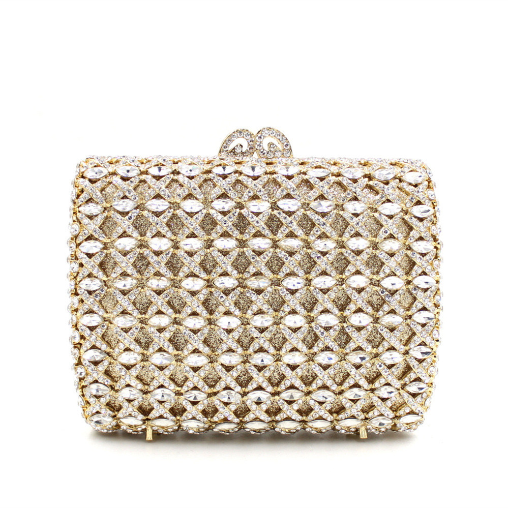 Tow Side Diamond Clucth Bag Purse Luxury Full Crystal Women Hollow Out Party Wedding Handbag Clutch Evening Bag(China (Mainland))