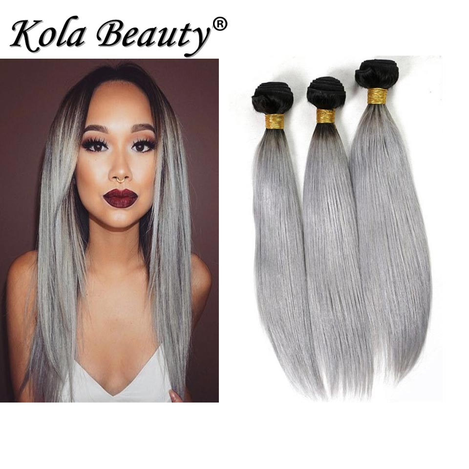 10A Silver Gray Hair Extensions New Fashion Virgin Malaysian Straight Hair 4pcs lot Black and Grey Ombre Human Hair Weave