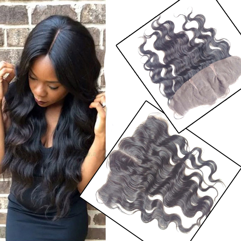 Фотография 13X4 Body Wave Lace Frontal Closure Brazilian Virgin Hair Free Middle Three Part Bleached Knots Lace Frontals With Baby Hair