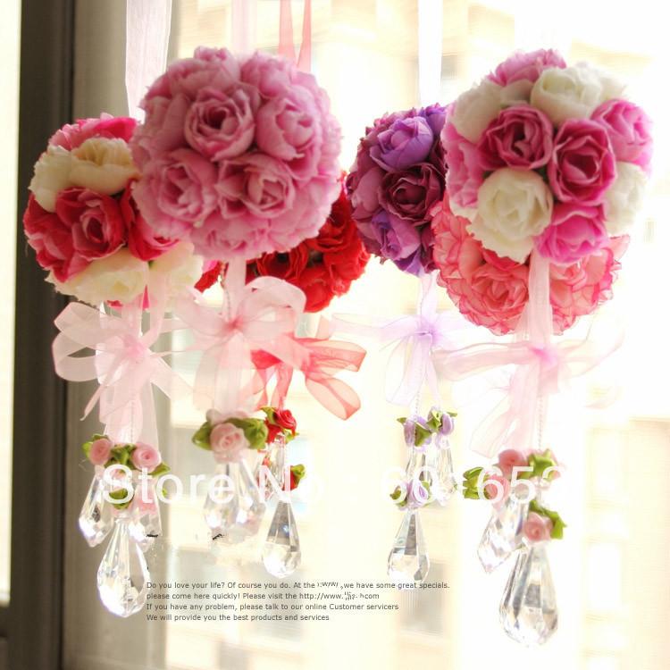 Wholesale Wedding Flower Ball Artificial Flower Rose Ball Silk