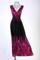 Дешевые продукты один как этот глубокий v воротник Павлин богемы летом Лонг Бич платье макси платье Р004